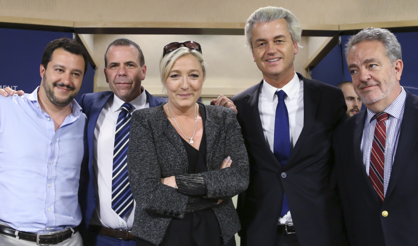 Salvini of Italy's Lega Nord party, Vilimsky of Austria's Freedom Party,  Le Pen of France's National Front political party, Wilders of Dutch Freedom Party and Annemans of Belgian Vlaams Belang party pose in Brussels