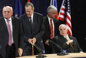 Former U.S. President Bush, former Soviet Union President Gorbachev and former Chancellor Kohl attend a ceremony of the Konrad-Adenauer foundation to mark the upcoming 20-year anniversary of the fall of the Berlin wall